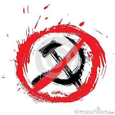 No Communism Symbol Stop Created Grunge Style