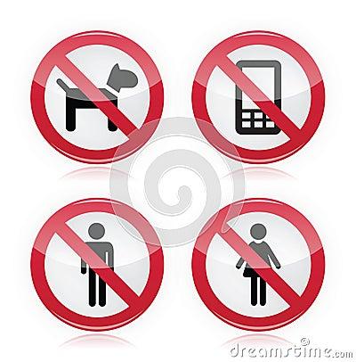 Free No Dogs, No Phones, No Men, No Women Warninng Sign Stock Photo - 25482180
