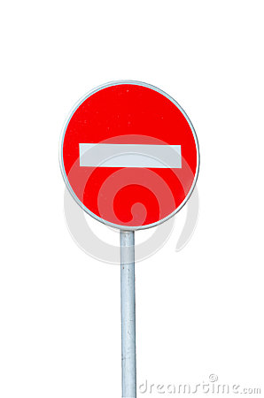 Free No Entry Road Sign Isolated On White Stock Photos - 41771373