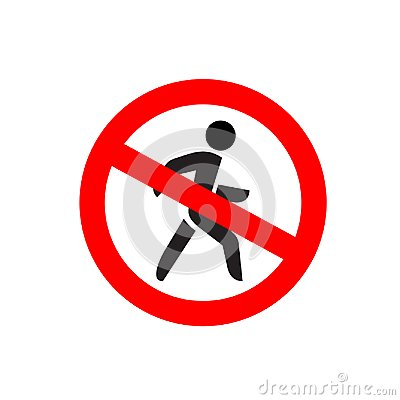 Free No Entry Symbol. Stop No Walking Pedestrian Warning Sign. Stock Images - 104762964