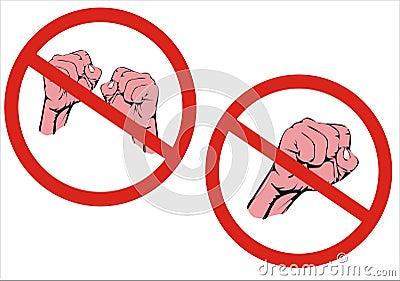 No Fighting Sign No Fight! No Aggressio...