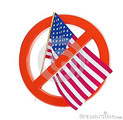 No flag USA icon