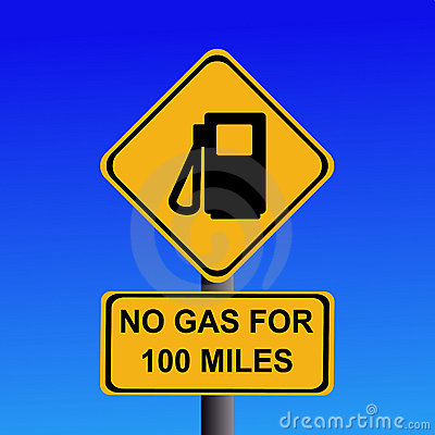 No gas for 100 miles sign