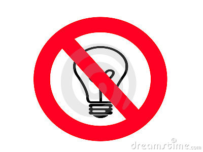 NO Incandescent Light bulb SIGN