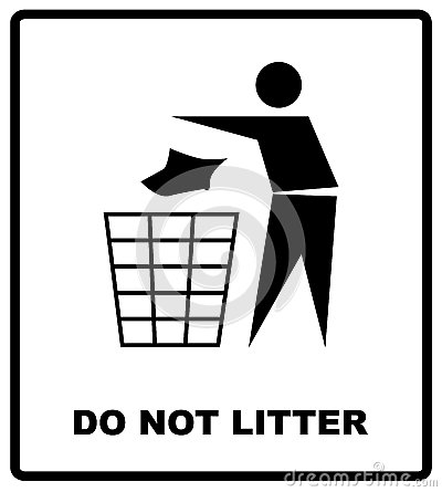 Free No Littering Sign Vector Illustration Do Not Litter Prohibition Sticker For Public Places In Red Circle, Vector Stock Photography - 85083092