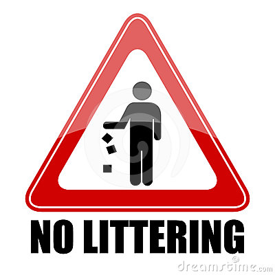 No littering triangle sign