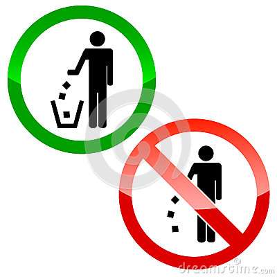 No littering triangle signs