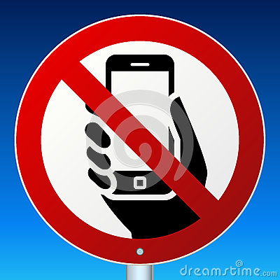 No Mobile Phones Sign On Blue Cartoon Vector