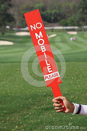 Free No Mobile Sign Was Shown By Staff In Golf Tournament. Stock Images - 51526174