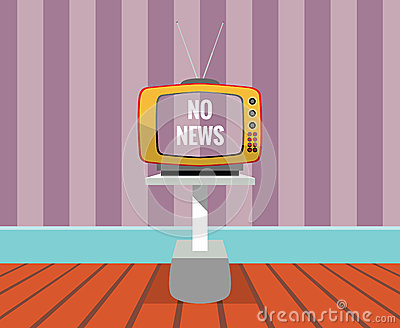 No news - vector drawing of a TV SET with no-news screen.