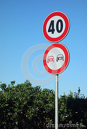 No Ovetaking Speed Limit Road Signs