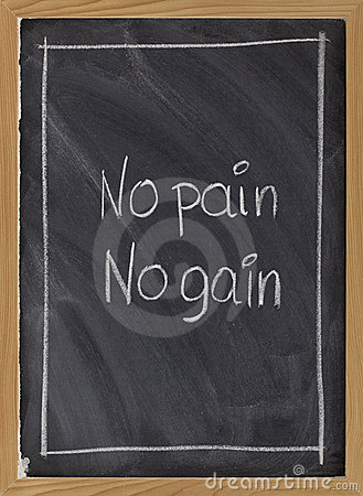 Free No Pain, No Gain Exercise Motto On Blackboard Stock Photo - 12543530