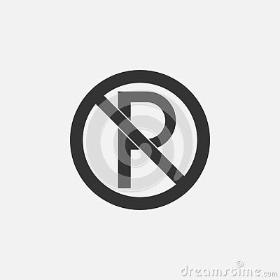 No parking icon, prohibit parking sign, signpost Vector Illustration
