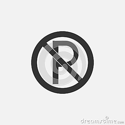 No parking icon, prohibit parking sign, signpost Vector Illustration