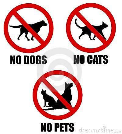 No Pets Allowed Banned Signs