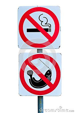 No smoking and no fishing warning sign
