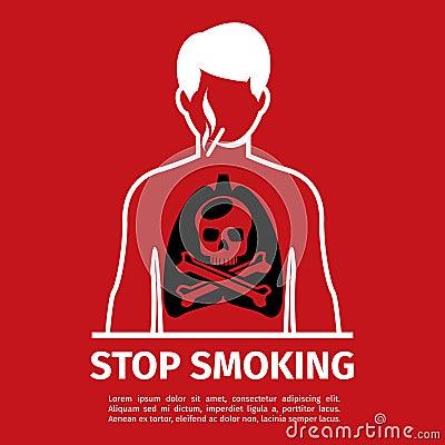 Free No Smoking Poster. Man With Skull And Cross Bones Stock Photos - 65407593