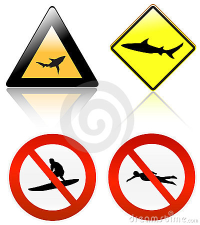 No surf & swim , shark danger