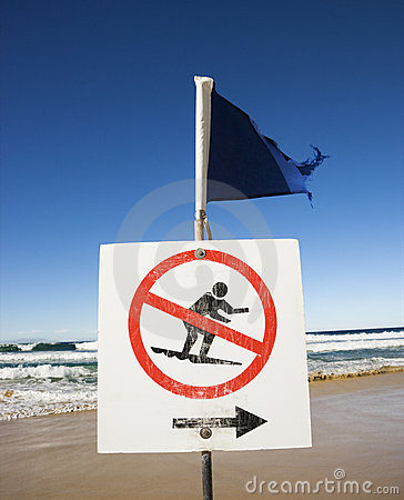 No surfing sign.