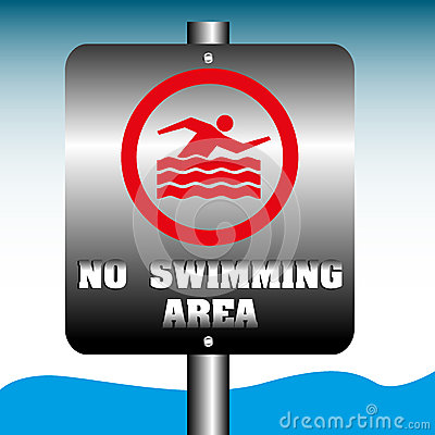 No swimming area plate