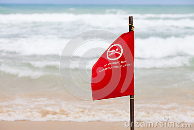 No swimming here dangerous strong current flag