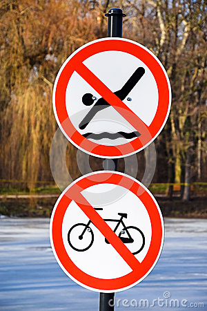 No swimming and no cycling traffic signs Stock Photo