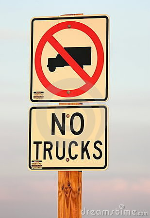No Trucks Allowed Sign