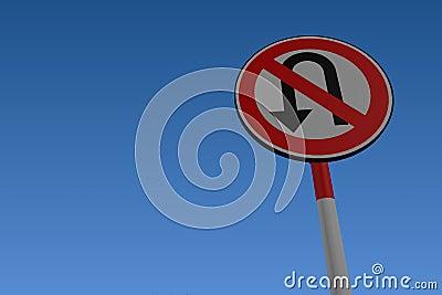 No U Turn Traffic Road Sign