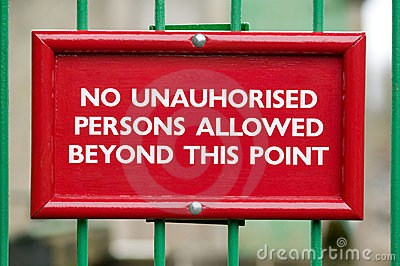 No unauthorised persons