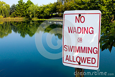 No Wading in Pond