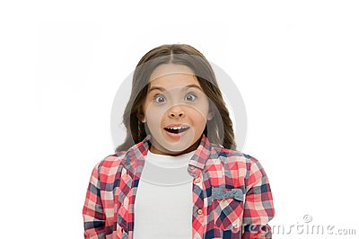 No way. Kid stunned overwhelmed emotion can not believe her eyes. Child surprised shocked face white background Stock Photo