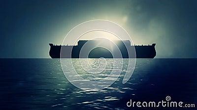 Noah Ark After de Grote vloed die vreedzaam op Water drijven stock videobeelden