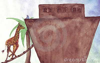 Noah calls giraffe on ark