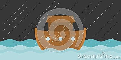 Noah`s ark in raining Vector Illustration