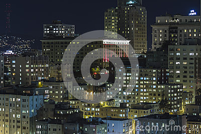 Nob Hill San Francisco Editorial Night View Editorial Stock Photo