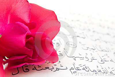 Noble Qur an and rose