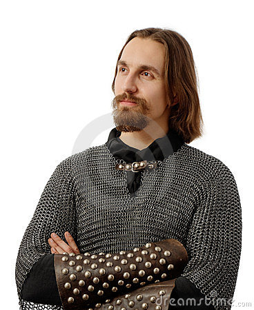 Noble warrior in medieval mail armor