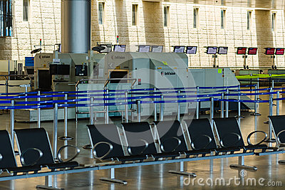 Nobody in international airport of Israel on Saturday (Shabbat) Editorial Photography