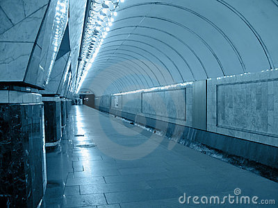 subway tunnel, perspective fluorescent road concep