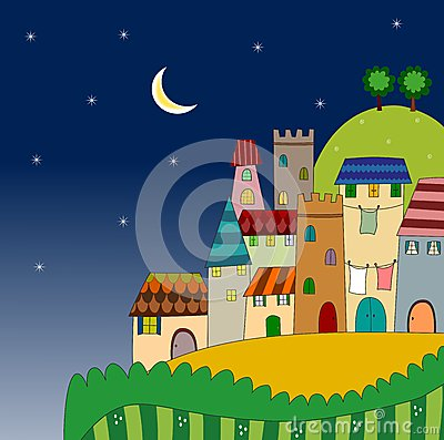 Noc widok miasto na wzgórzu