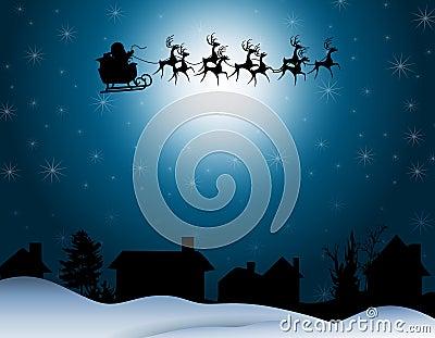Noche de la silueta del trineo de Santa