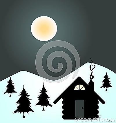 Noche del invierno en cabina