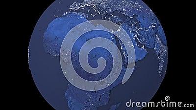 Noche realista que rota el planeta Tierra aislado de fondo negro Animación en bucle de 3d Tierra oscura ilustración del vector
