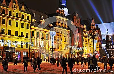 Noche Vieja en el Wroclaw Fotografía editorial