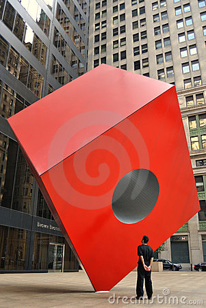 Noguchi s Red Cube Editorial Stock Photo