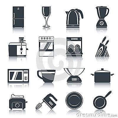 Noir d 39 ic nes d 39 appareils de cuisine illustration de for Appareil de cuisine