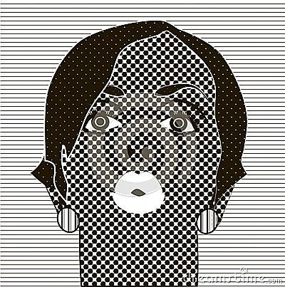 noir et blanc dessin le visage de la fille illustration de vecteur image 54975262. Black Bedroom Furniture Sets. Home Design Ideas