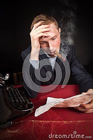 Free Noir Film Journalist At Work Stock Photo - 29559820