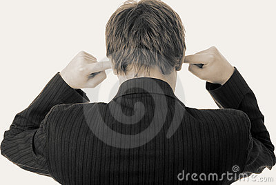 Noise in ears listen fingers businessman