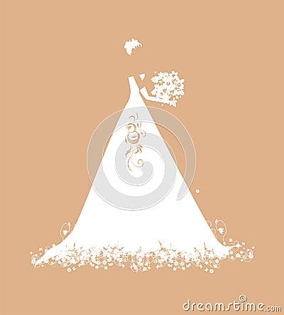Noiva no branco de vestido do casamento com ramalhete